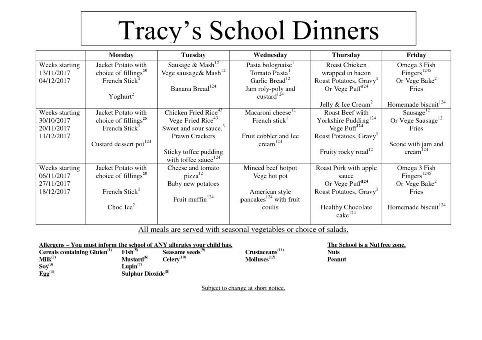 thumbnail of Tracys Termly Dinner Menu. November – December 2017