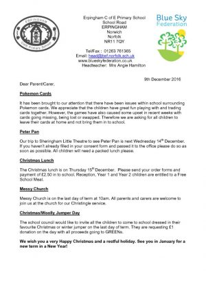 thumbnail of Erpingham Newsletter 9th December 2016
