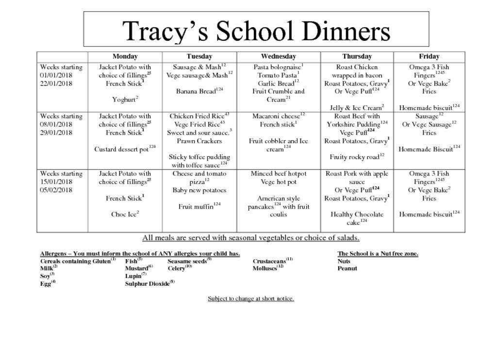thumbnail of Tracys Termly Dinner Menu. Spring 2018