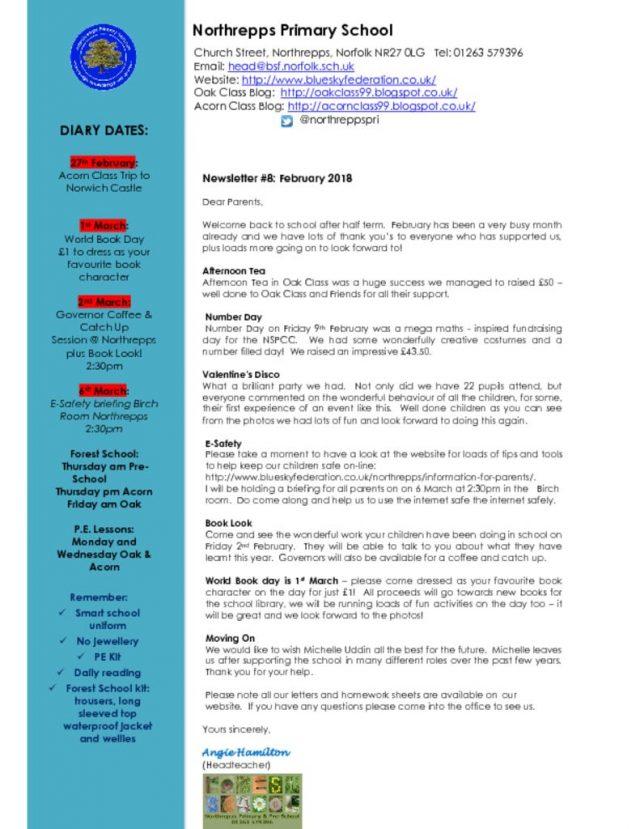 Northrepps Newsletter 23rd February 2018 | Blue Sky Federation